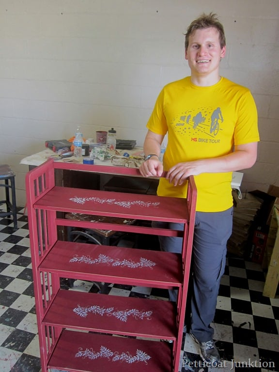 learning how to paint furniture at a furniture painting workshop