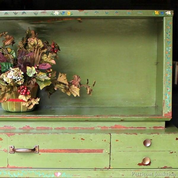 folk art green cabinet