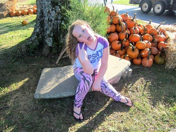 granddaughter at pumpkin patch