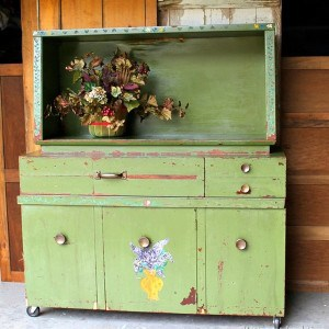 How To Refresh Paint Color Using Hemp Oil-Green Folk Art Cabinet