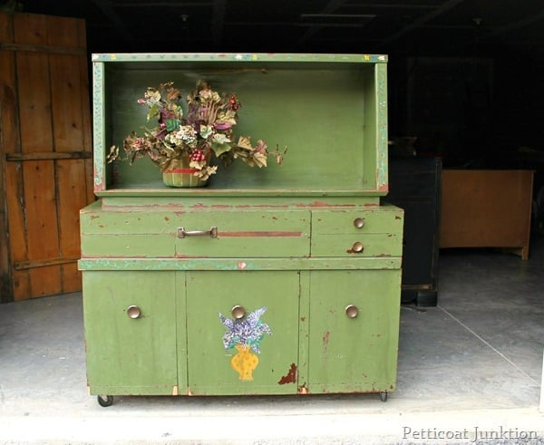 green cabinet paint refresh using hemp oil