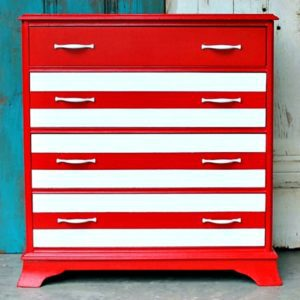 how to paint red and white stripes on furniture