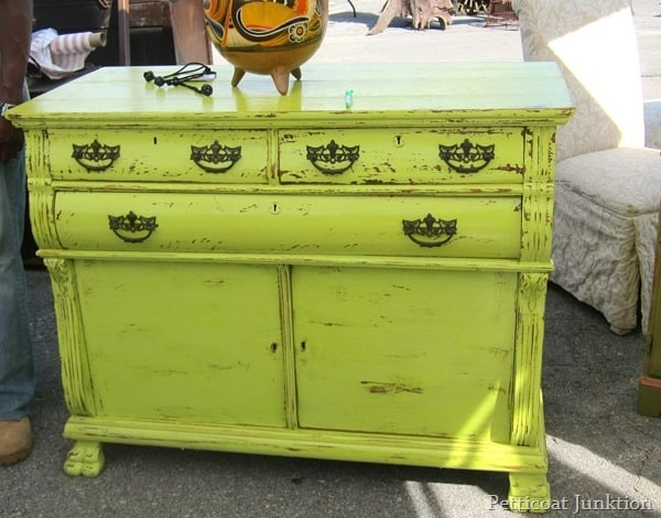 Nashville Flea Market Furniture Finds, painted lime green