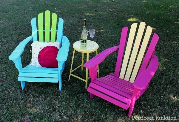 turquoise and fuchsia adirondack chairs