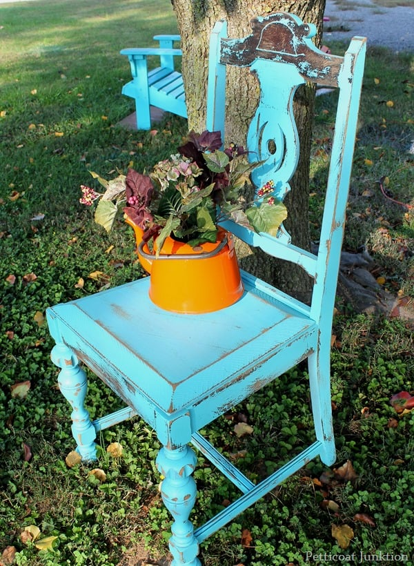 turquoise distressed chair