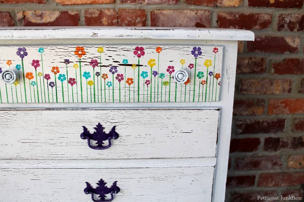 How To Stencil Flowers On Furniture Drawers