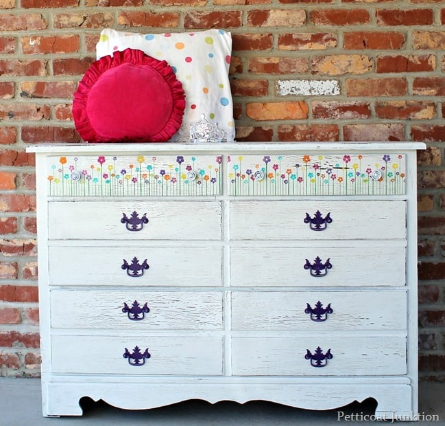 White Dresser with Stenciled Flowers