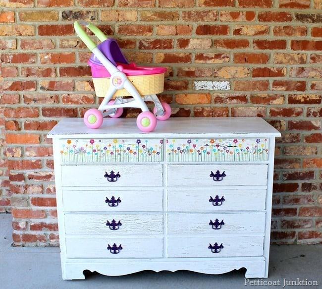 colorful stenciled dresser