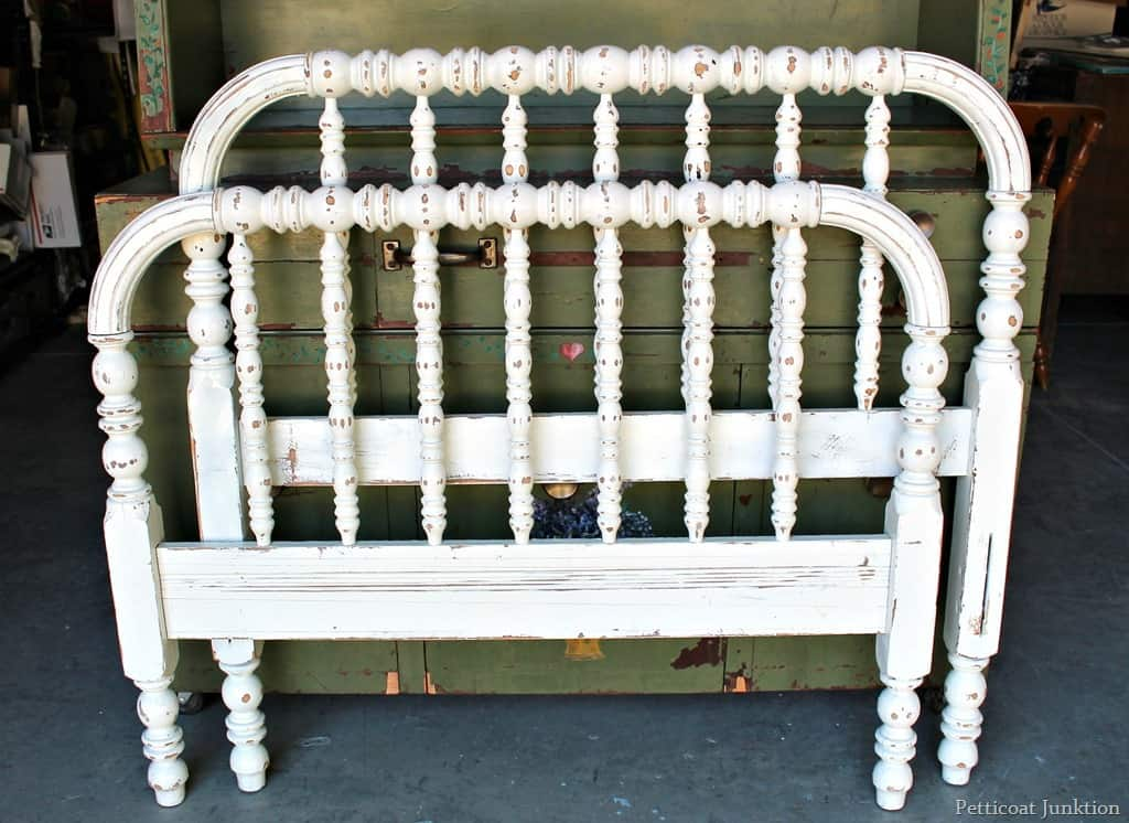 Trend twin bed painted white and distressed