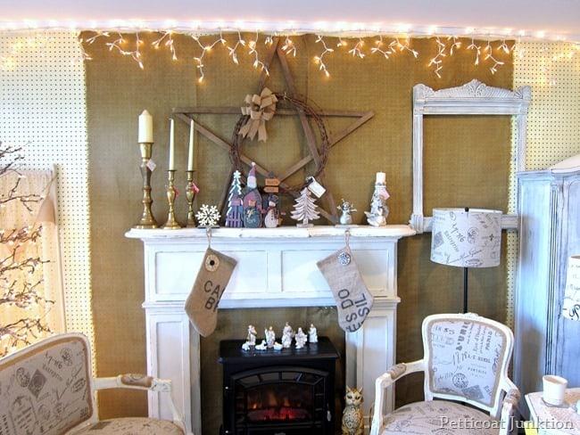 white and burlap decor