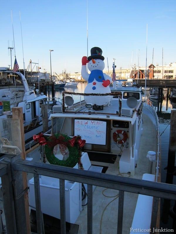 snowman on a sailboat