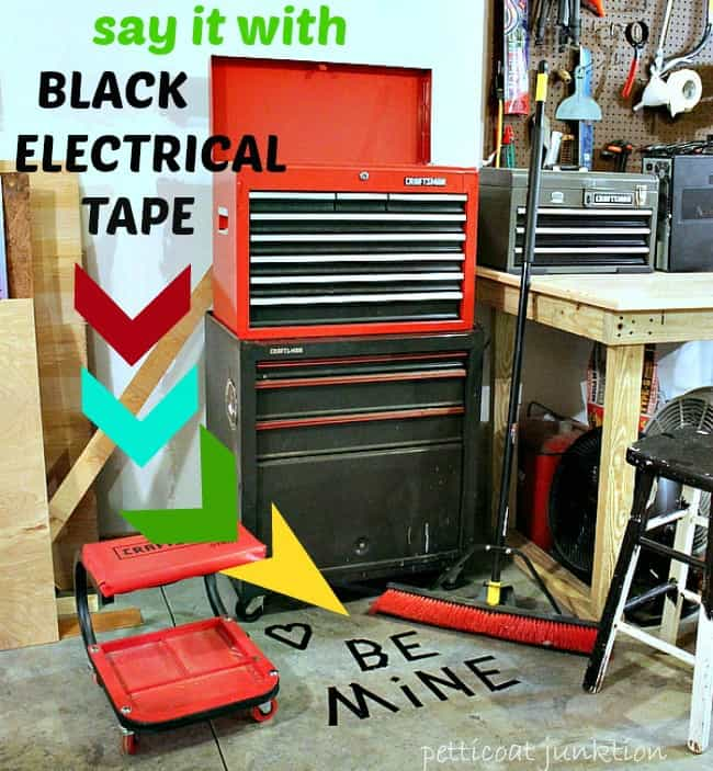 Be Mine Valentines DIY say it with Black Electrical Tape 2