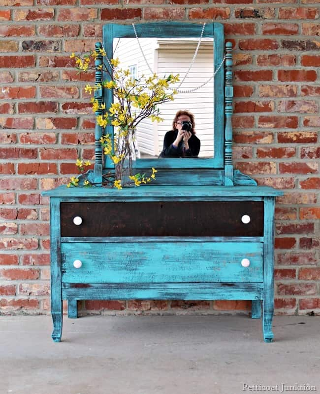 Distressed Turquoise Dresser with Mirror