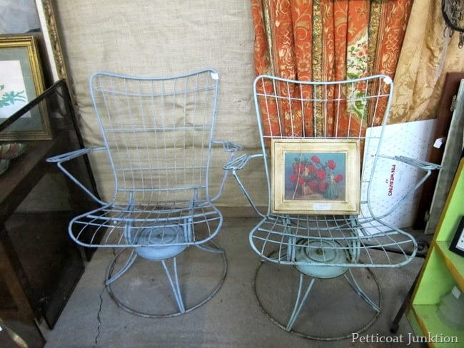 blue iron patio chairs junk shopping petticoat junktion