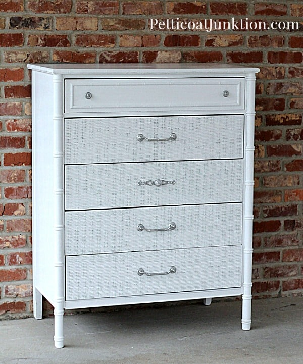 coastal chic white wicker chest furniture makeover by Petticoat Junktion