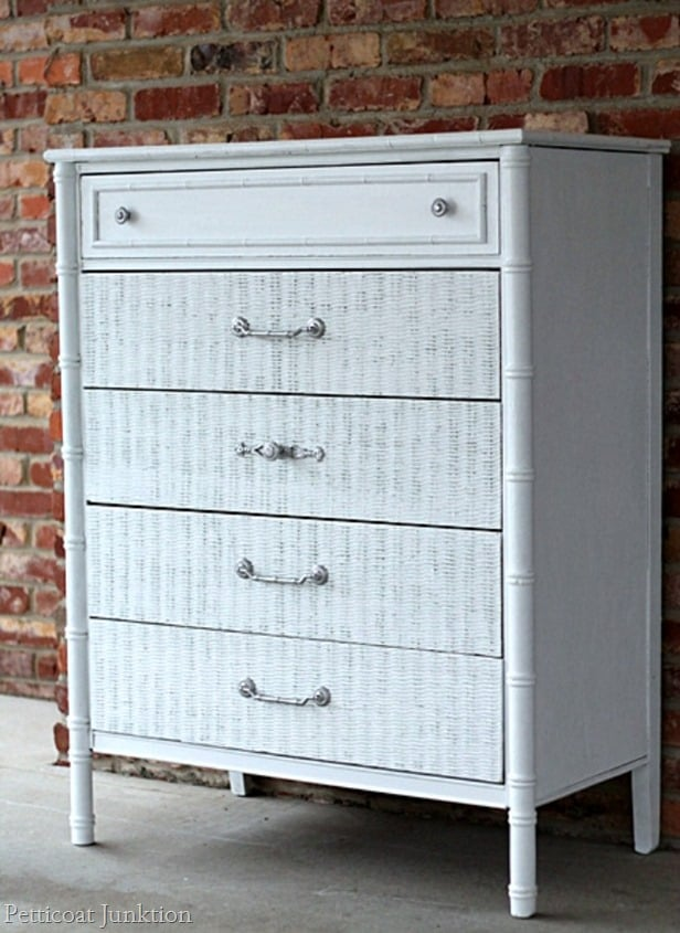 painted white wicker chest with spray painted silver hardware petticoat junktion