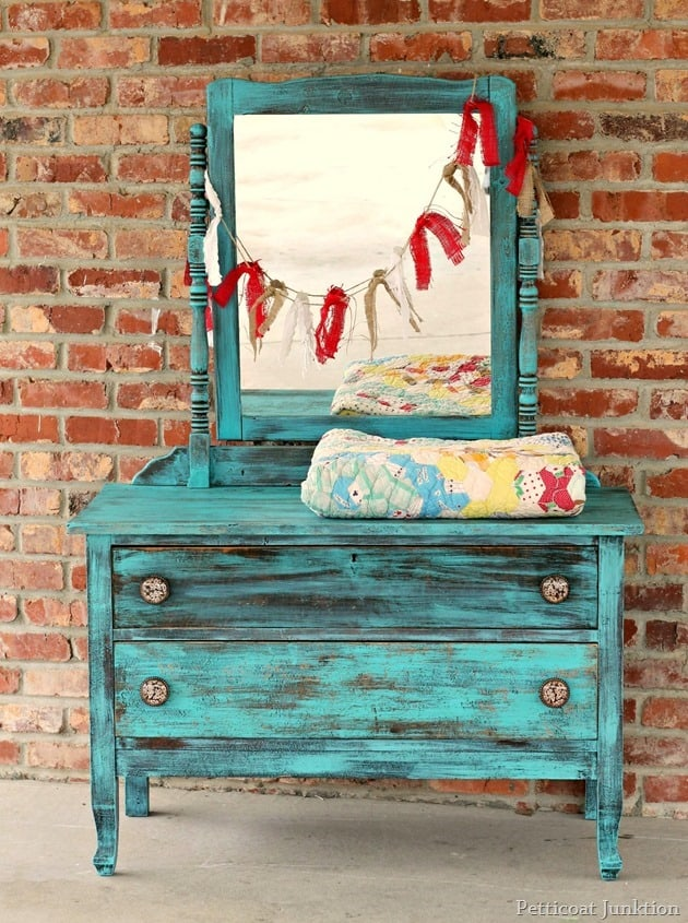 turquoise furniture makeover 2
