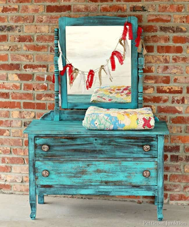 vintage furniture painted turquoise petticoat junktion 2