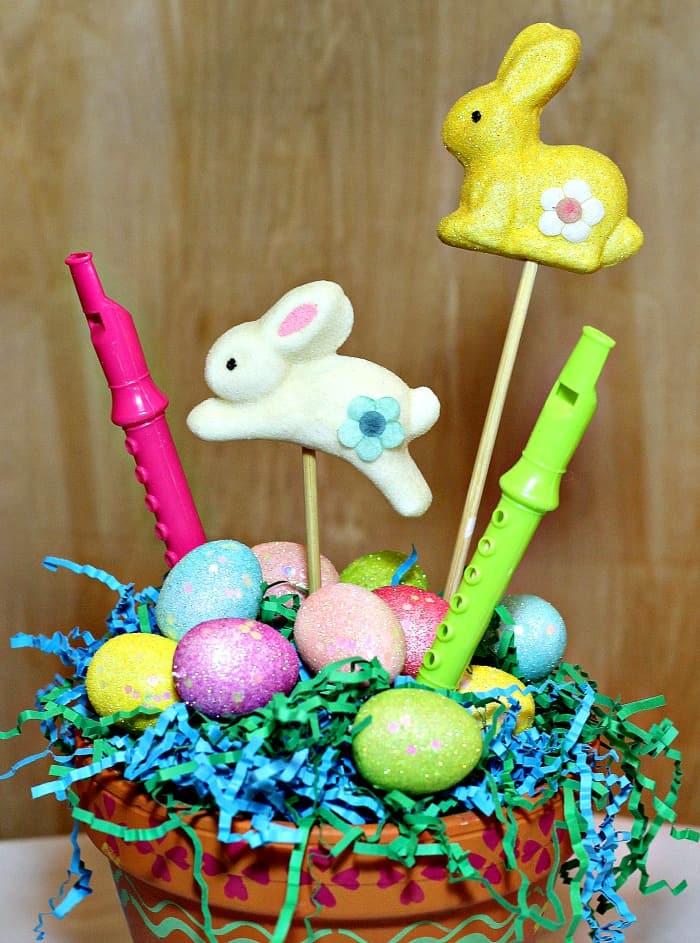 Easter centerpiece made using a terra cotta pot