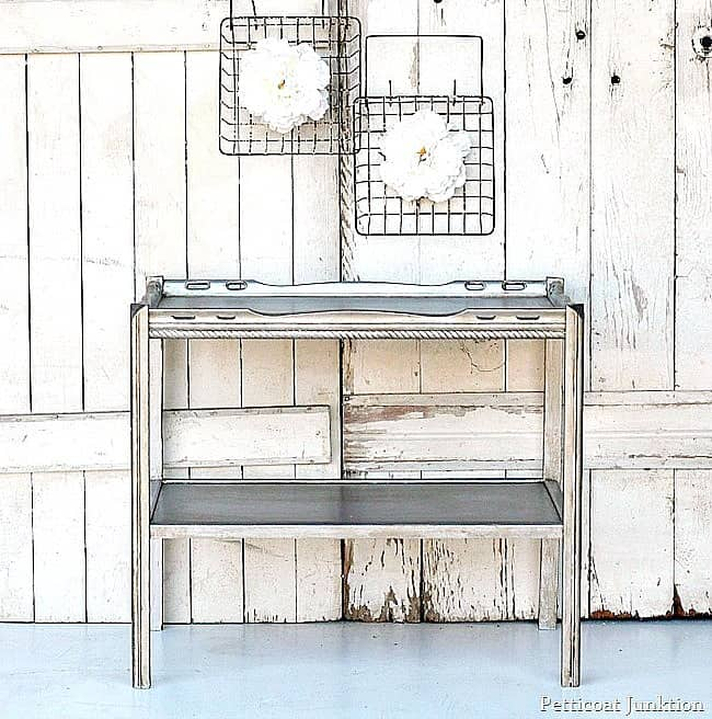 paint furniture with metallic paint and age it with toner