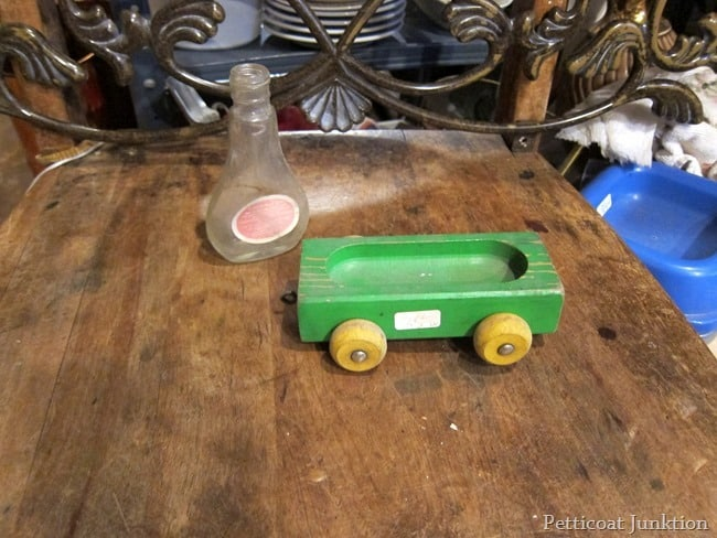 green and yellow wood car