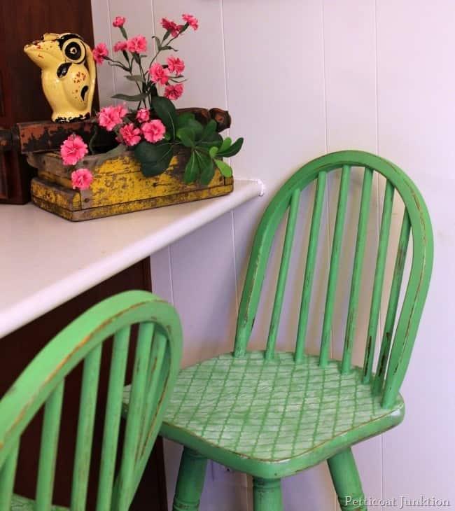 green wood bar stools
