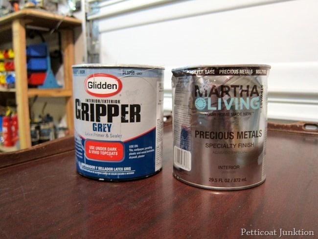 martha stewart metallic paint and glidden gray primer