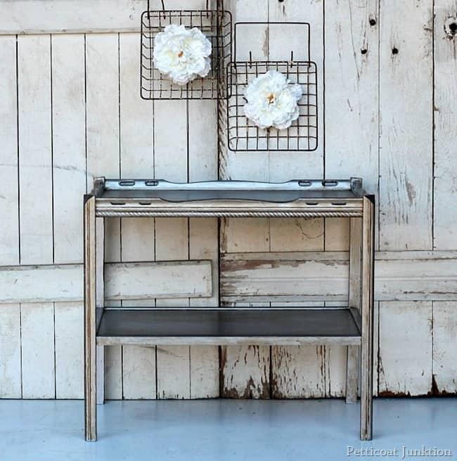 martha stewart metallic silver paint furniture project