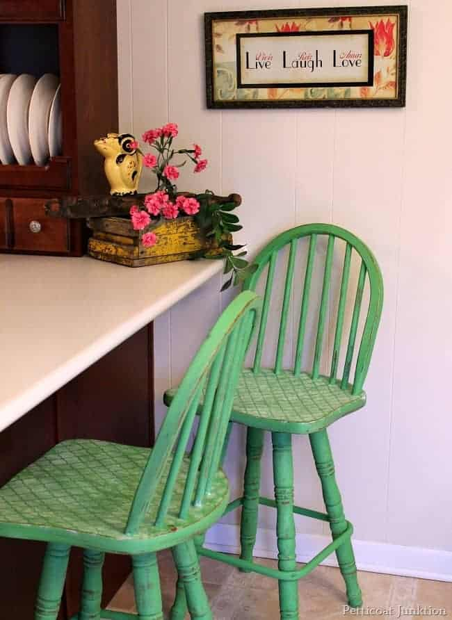 painted and stenciled bar stools