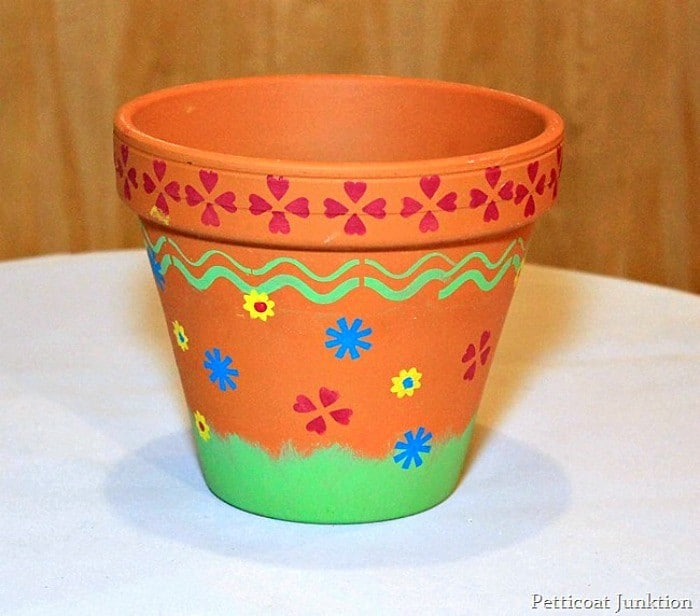 stenciled clay flower pot Easter craft Petticoat Junktion