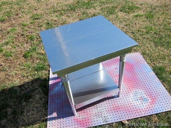 Rust-Oleum metallic silver spray paint project Petticoat Junktion