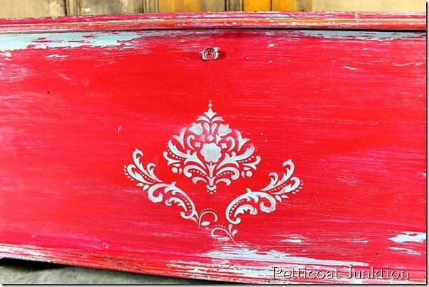 cherry red stenciled chest