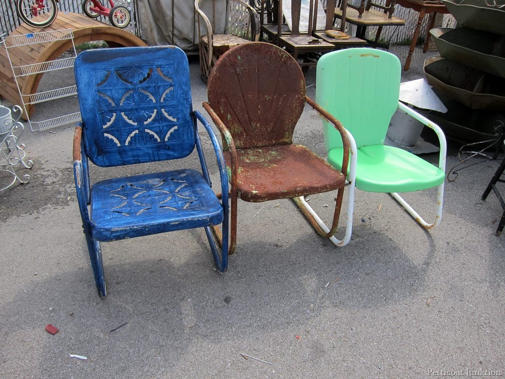 Count the chairs nashville flea market petticoat junktion Metal patio furniture vintage