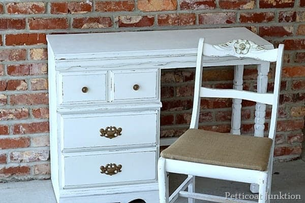 desk makeover in white with spray painted hardware petticoat junktion