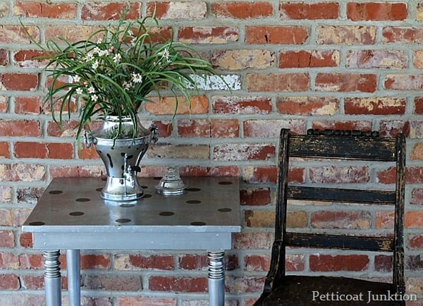 diy furniture makeover with metallic silver paint petticoat junktion