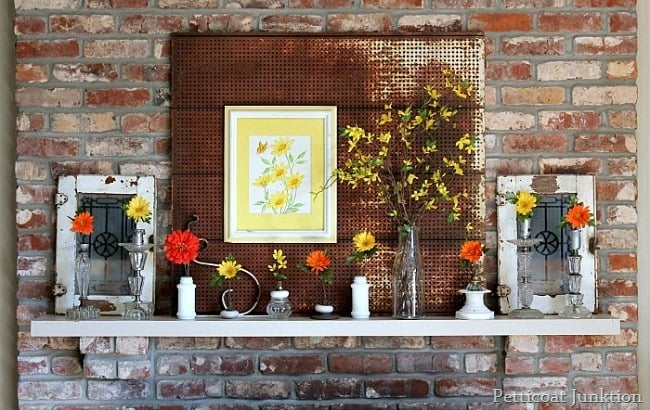flowers and vintage doors for Spring Mantel Decor