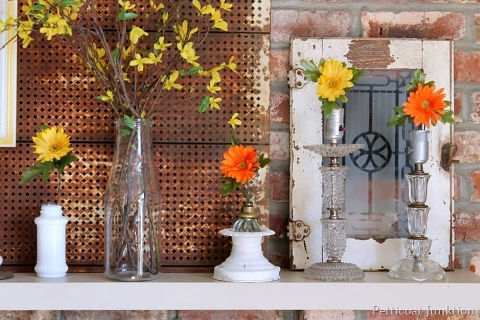flowers for a Spring mantel