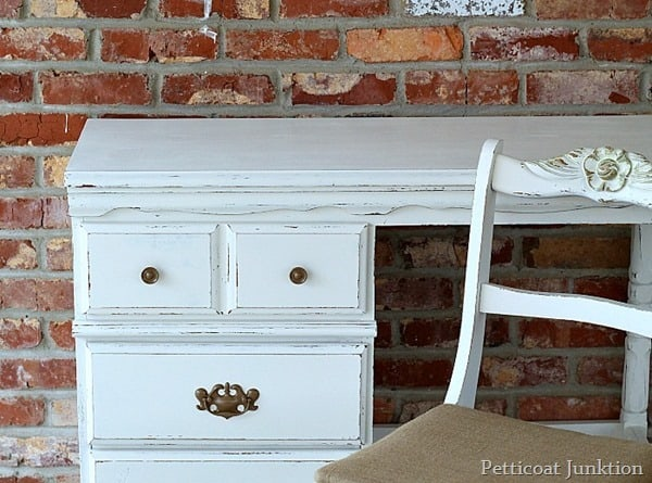 furniture makeover white distressed paint and burlap seat cover petticoat junktion