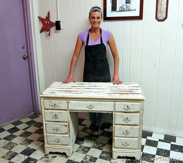 heavily distressed white desk project petticoat junktion paint workshop