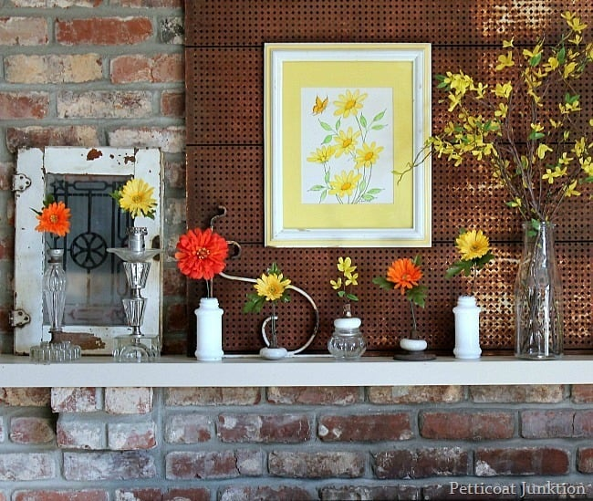 orange and yellow flowers for Spring Mantel
