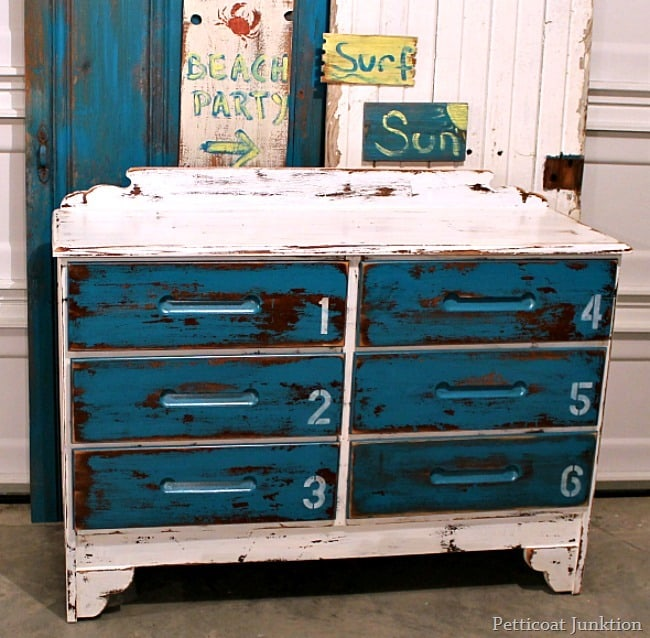 stenciled beachy nautical style dresser