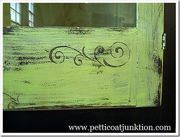 stenciled green and black wardrobe