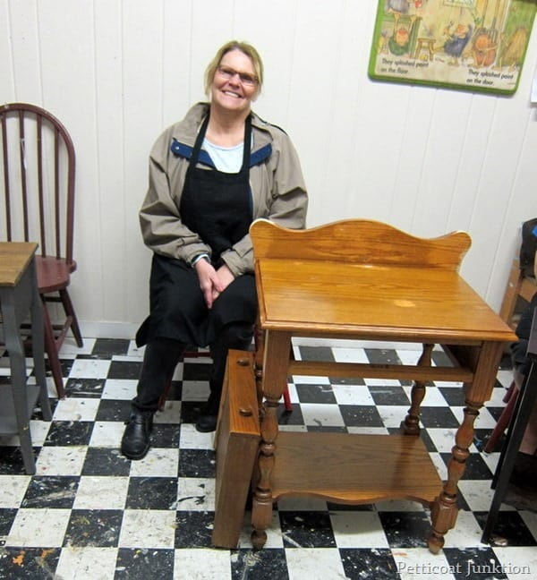 Carolyn with her project table before painting petticoat junktion paint workshop