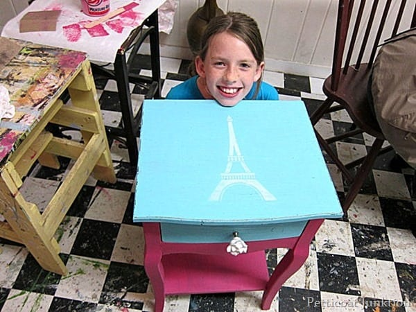 Carson and her French themed furniture makeover at the Petticoat Junktion paint workshop