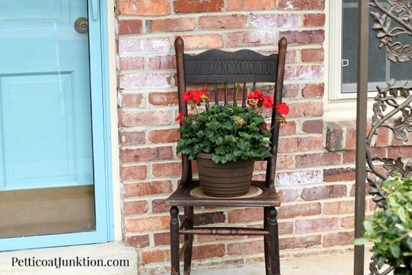 chair planter Spring porch decor petticoat junktino
