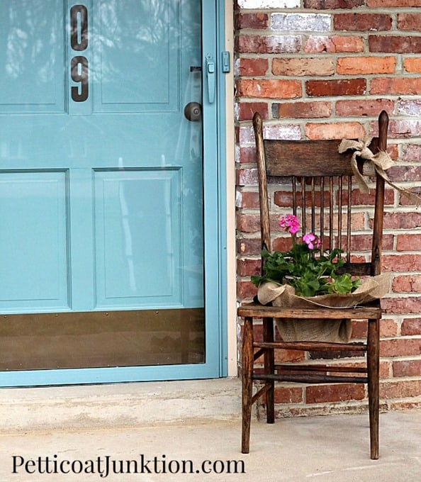 DIY Antique Chair Flower Container