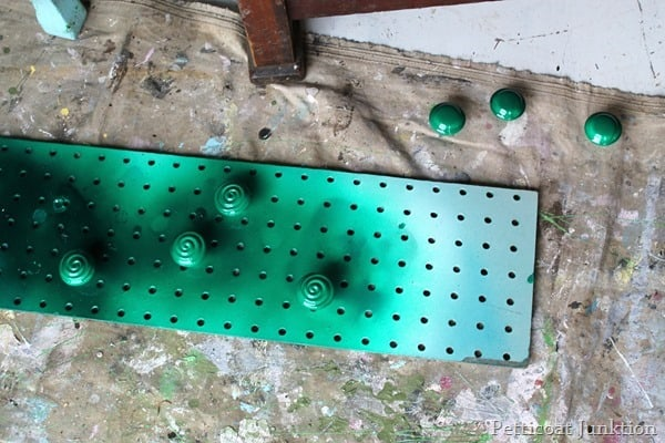 green spray painted hardware petticoat junktion