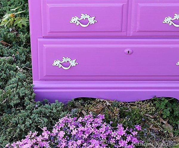 painted furniture makeover with radiant orchid by petticoat junktion
