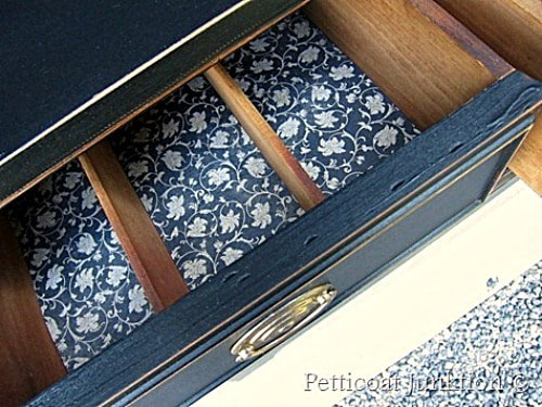 painted furniture with scrap book paper drawer liners