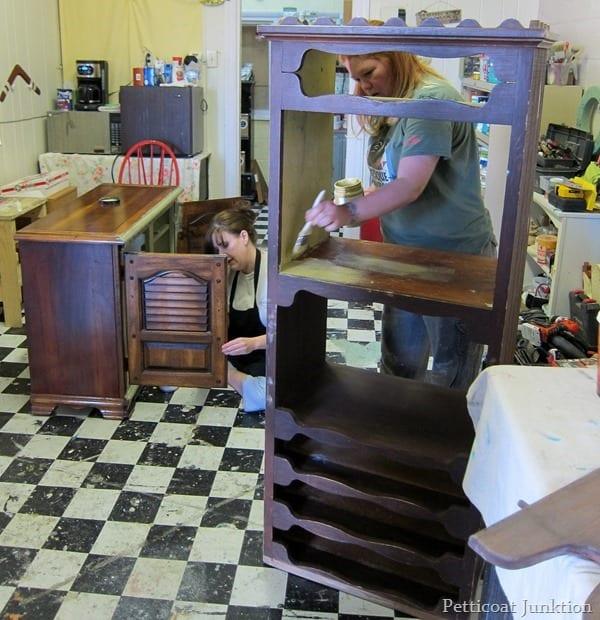 painting furniture at Petticoat Junktion paint workshop
